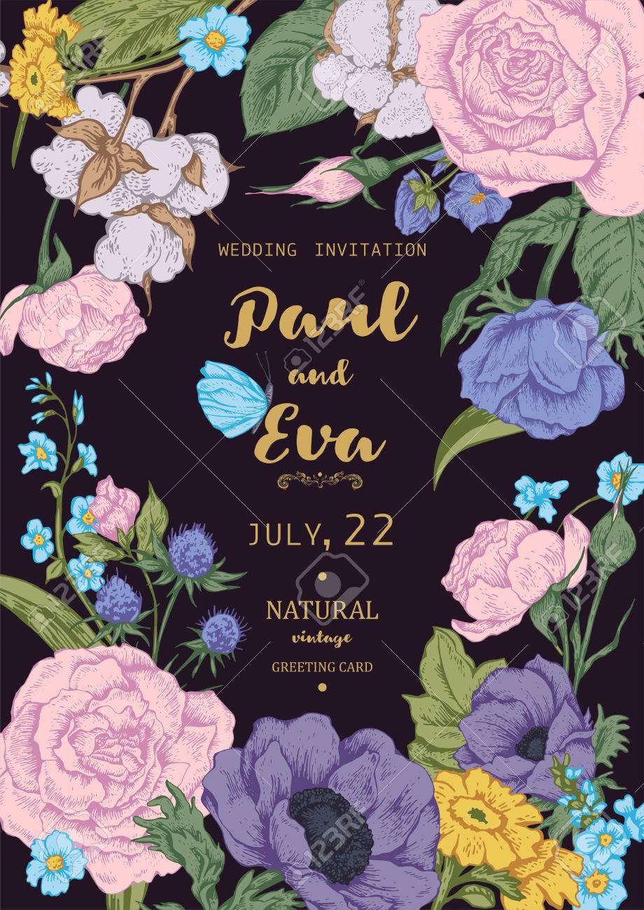 Vintage Floral Vektor Hochzeitseinladung Mit Rosen Anemonen Und