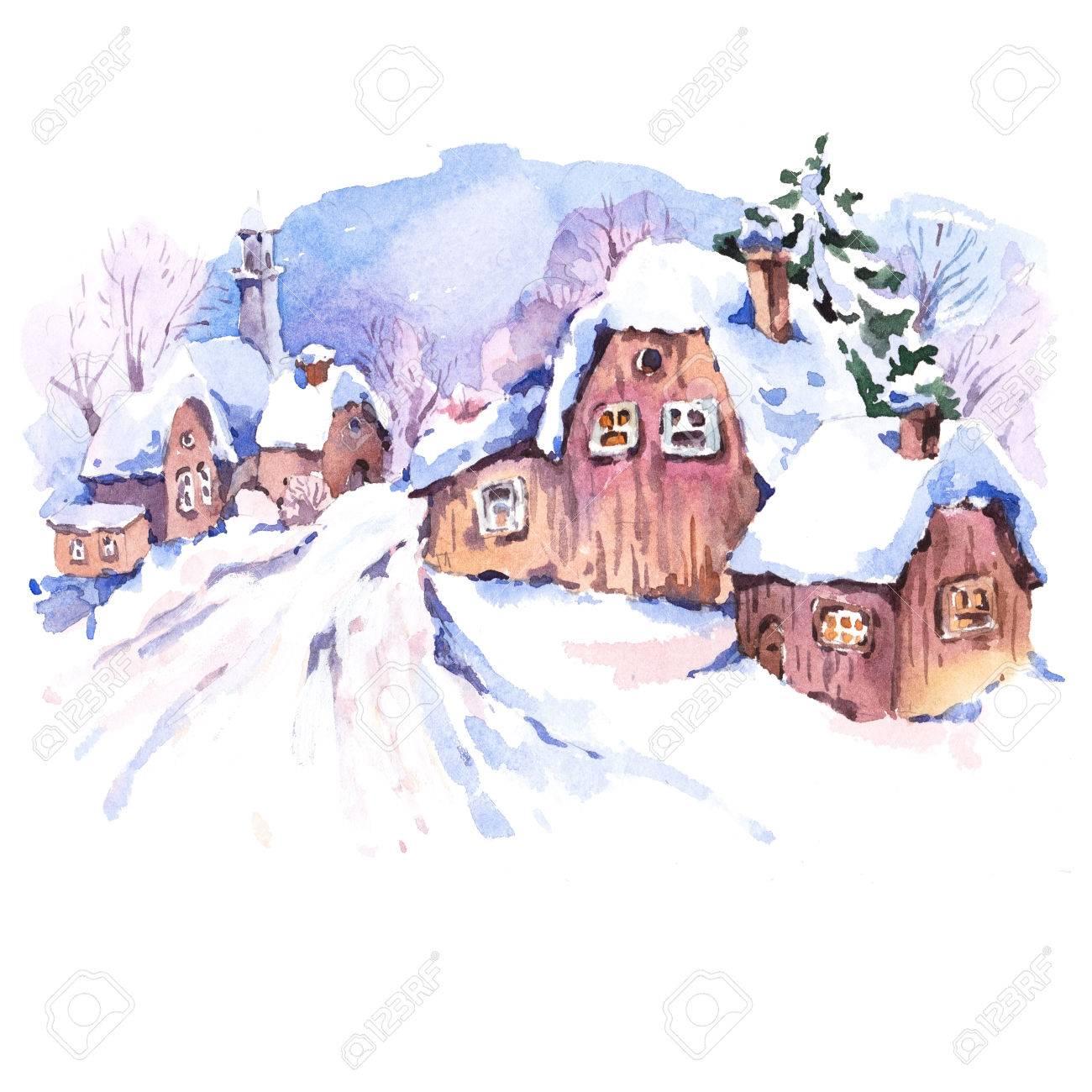 居心地の良い田舎水彩冬の風景おとぎ話冬の水彩イラストヴィンテージ