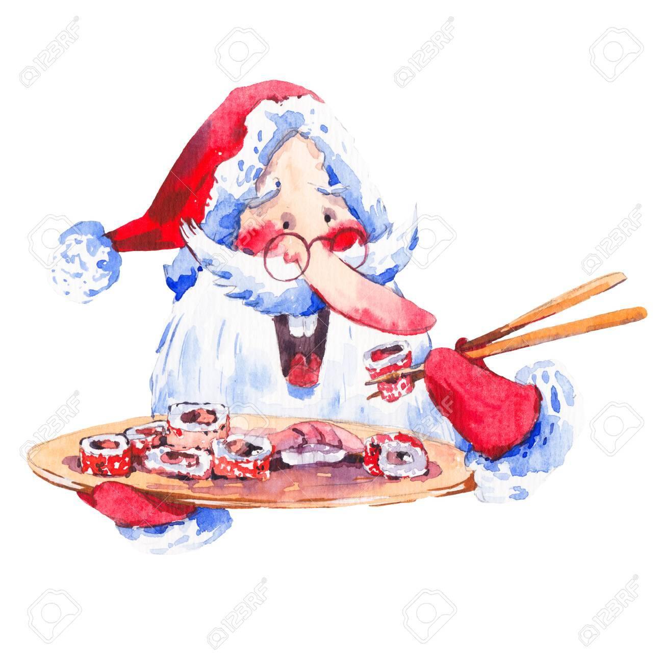 Weinlese-Aquarell Lustige Weihnachtsmann Mit Sushi Und Rollen ...