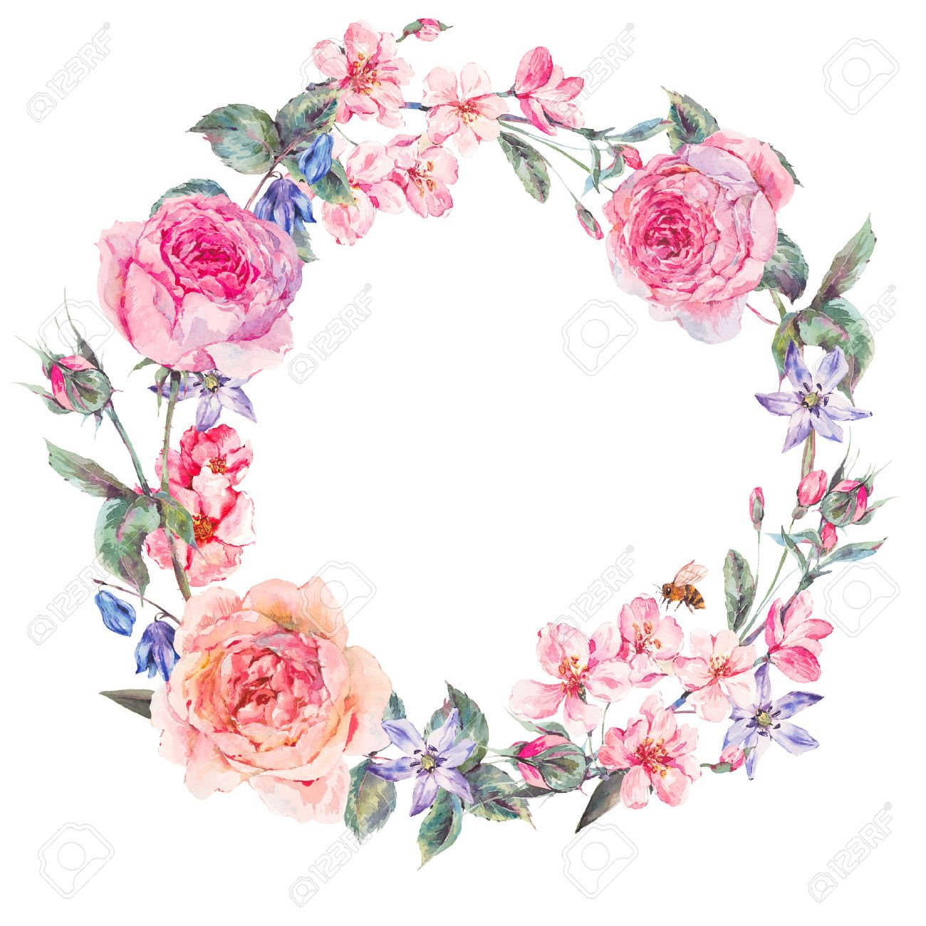 Vintage Garden Watercolor Spring Round Floral Wreath With Pink