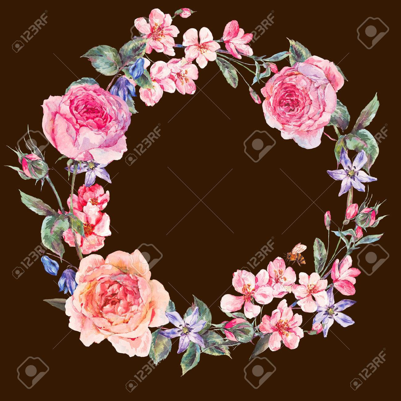 Vintage Garden Watercolor Spring Round Floral Wreath With Pink ...