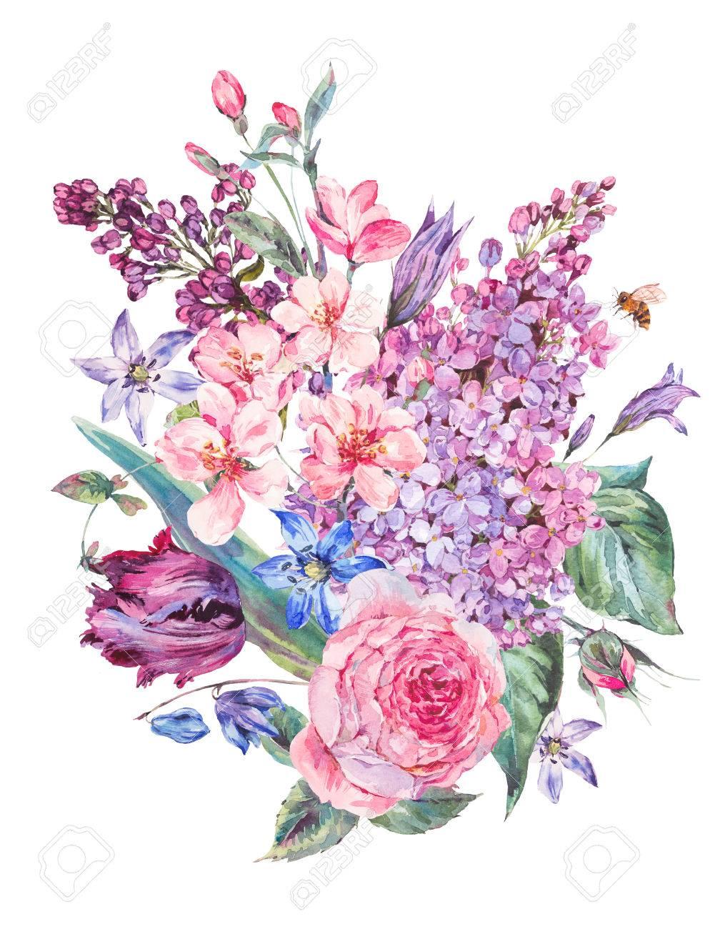 Con Fiori.Immagini Stock Primavera Acquerello Bouquet Con Fiori Rosa Lilla