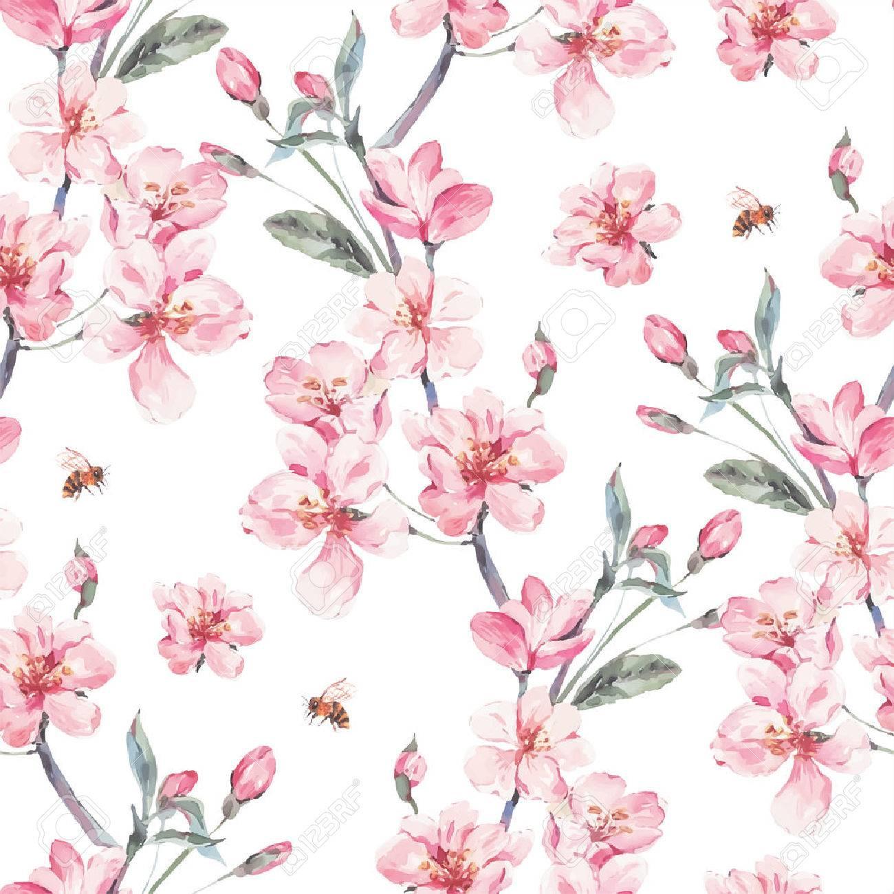 Vintage garden vector spring seamless background - 69497705
