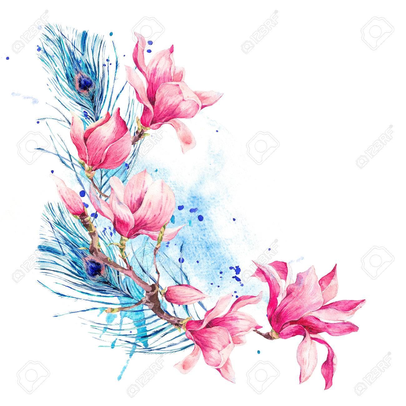 Tarjeta De Felicitacion De La Primavera Floral De La Acuarela