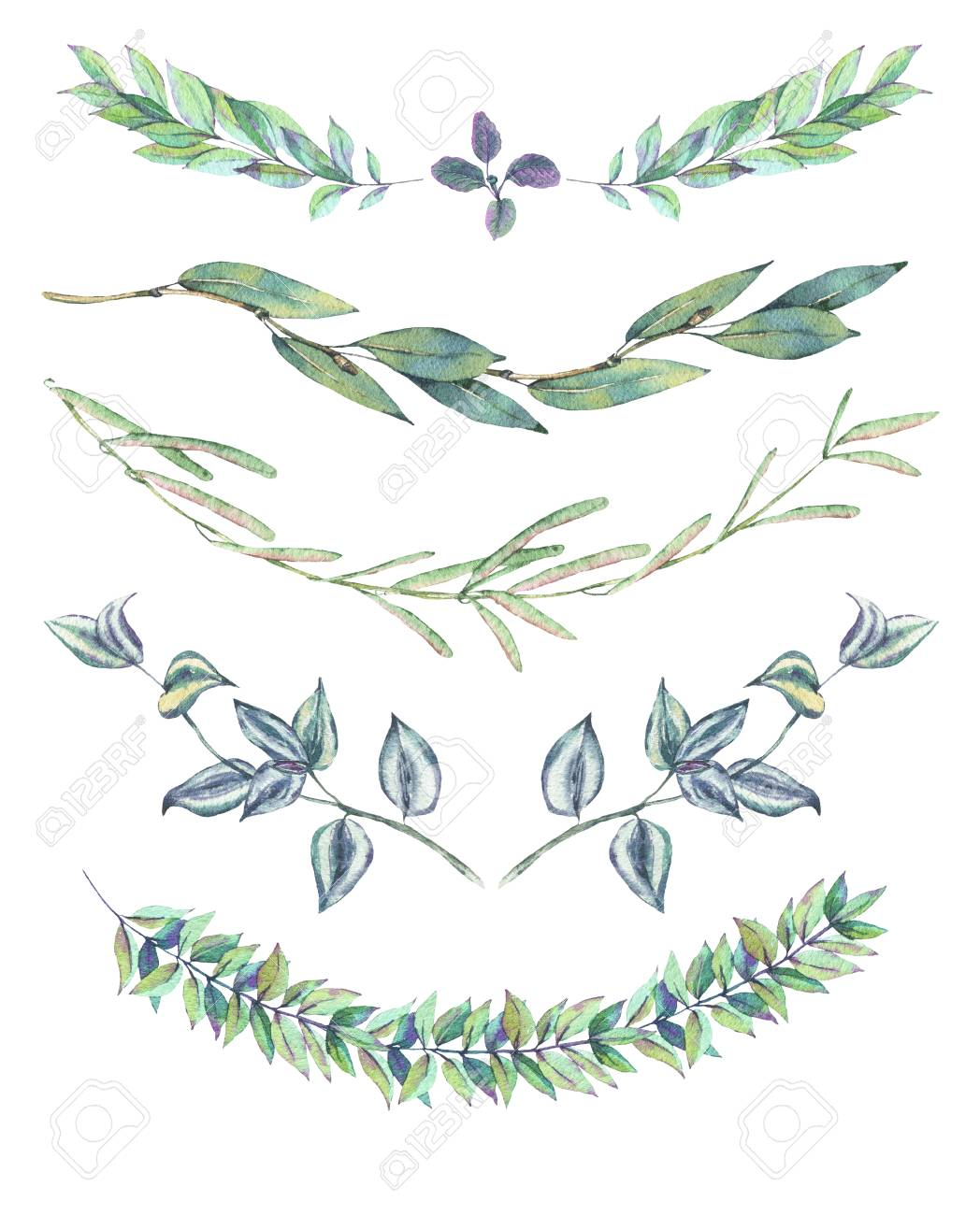 セットの葉の花輪 水彩ビンテージ ナチュラル リースや白い背景に分離