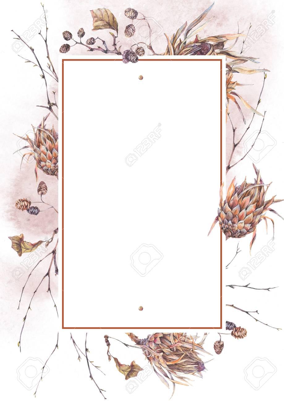 水彩ヴィンテージ植物フレームプロテア野生の花枝枝や葉は