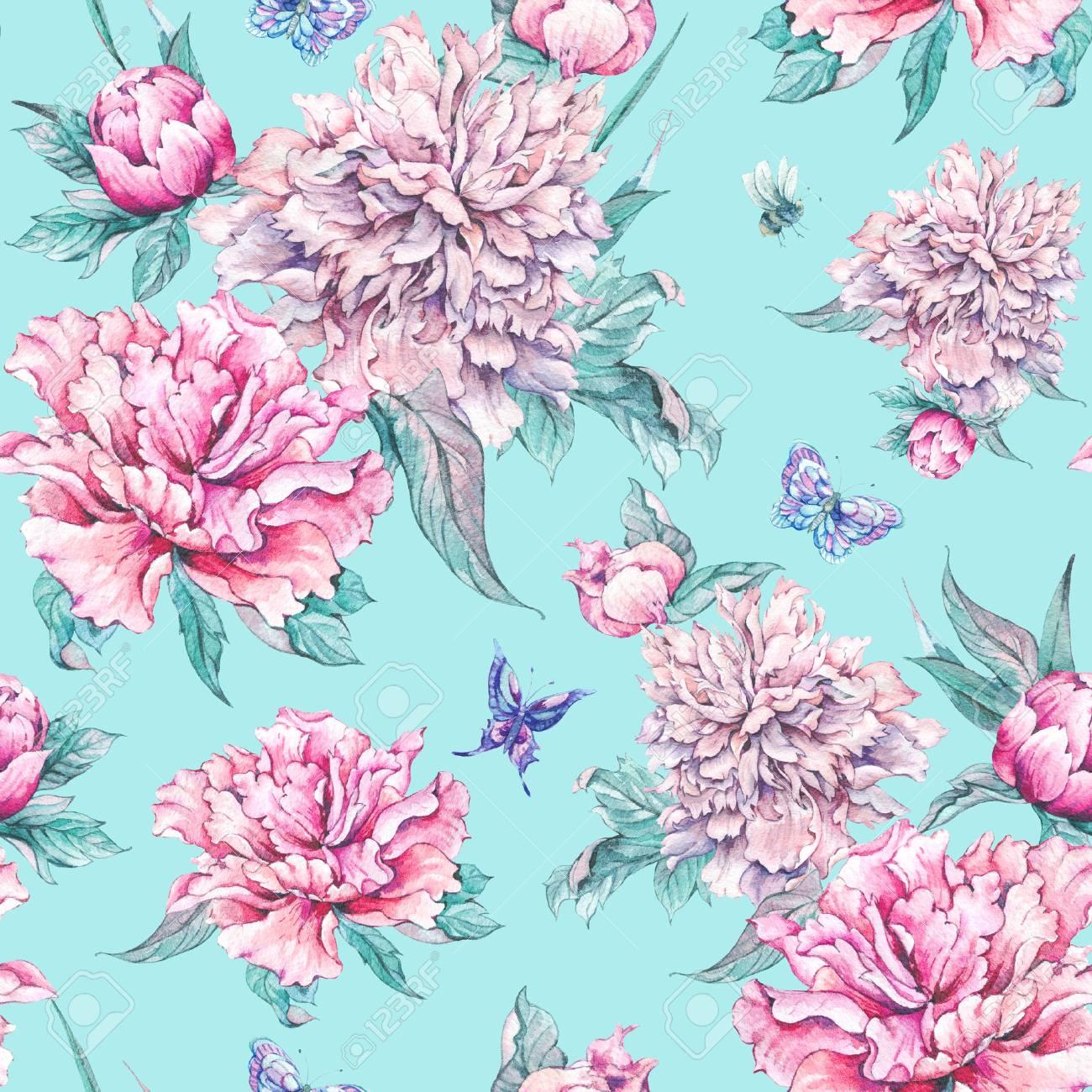 Watercolor Nature Seamless Pattern Pink Flowers Blooming Peonies
