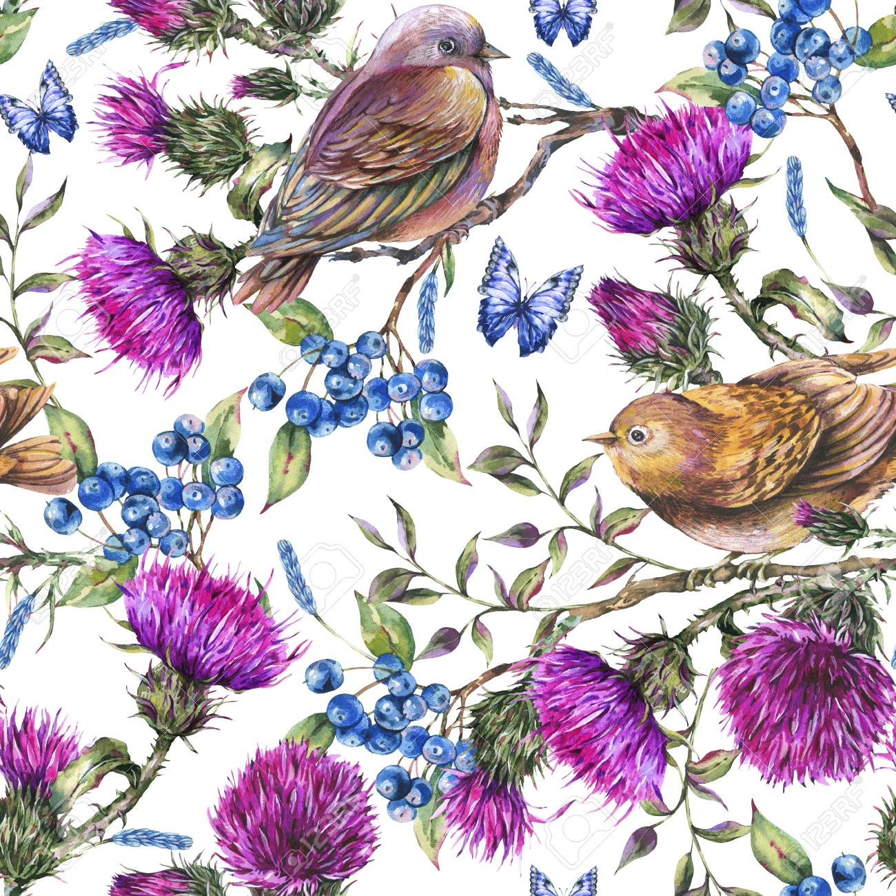 Watercolor seamless pattern with pair of birds, thistle, berries. - 123162386