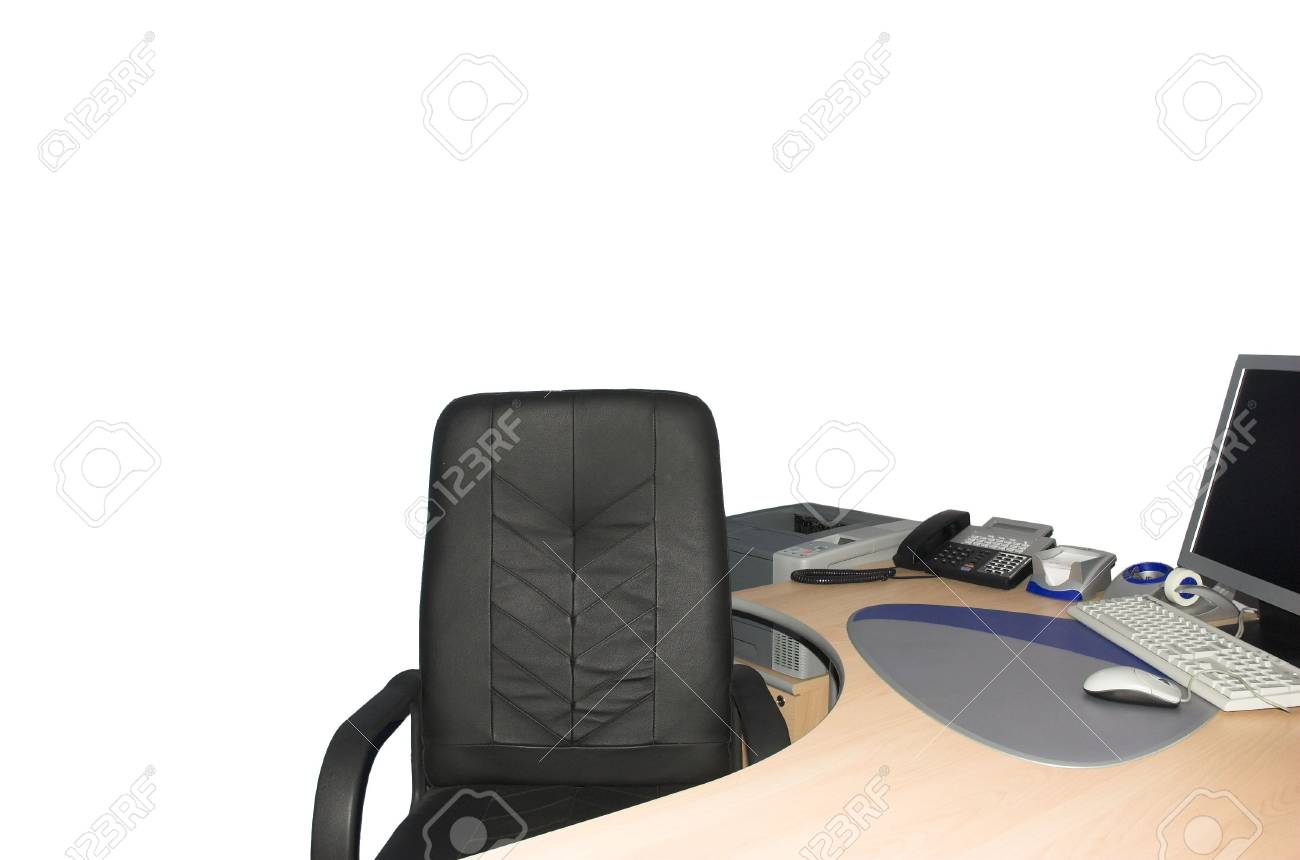 isolated chief office workplace with computer Stock Photo - 2262617