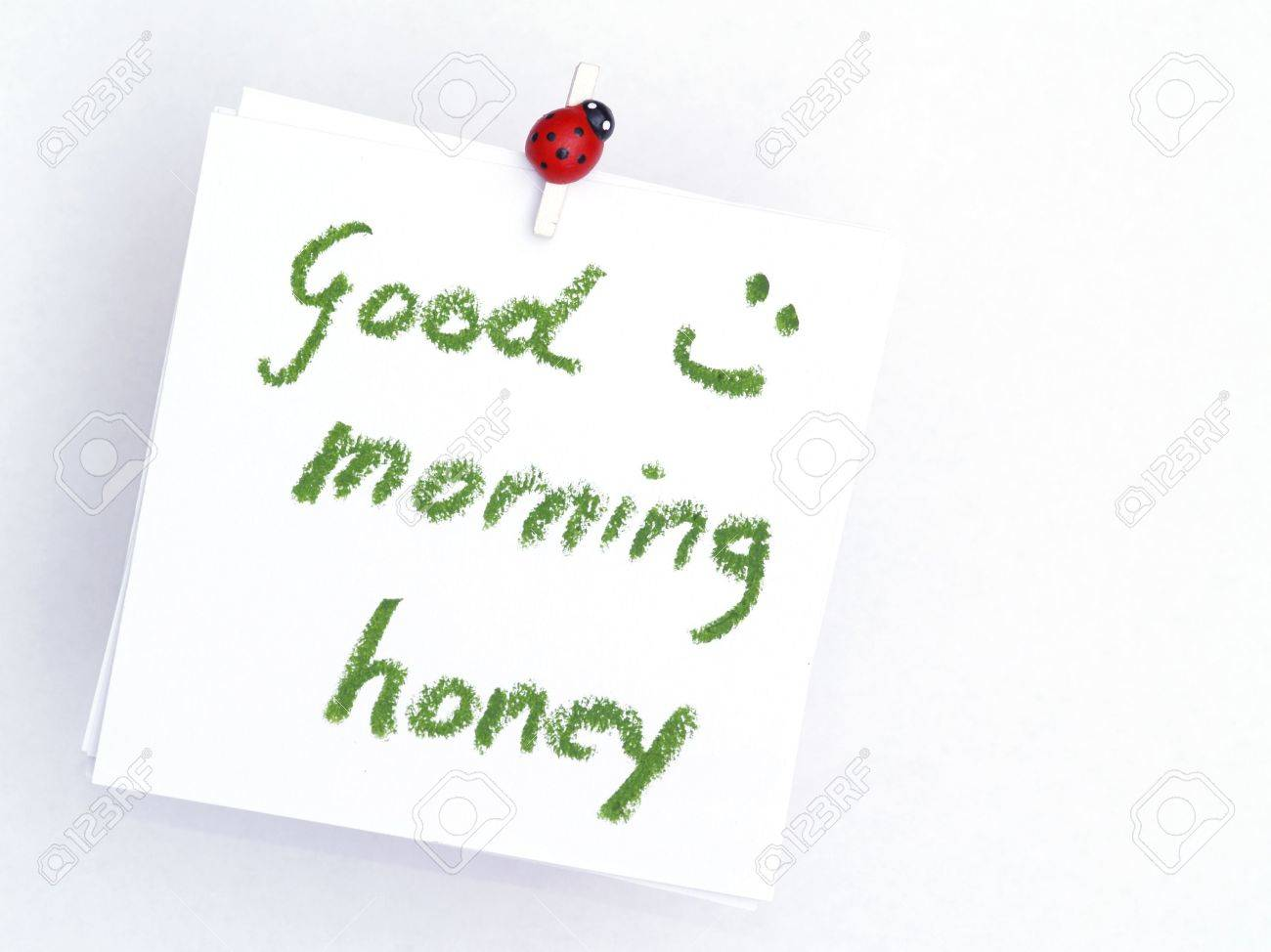 Top Memo Over White, Good Morning Honey Stock Photo, Picture And #FO_88