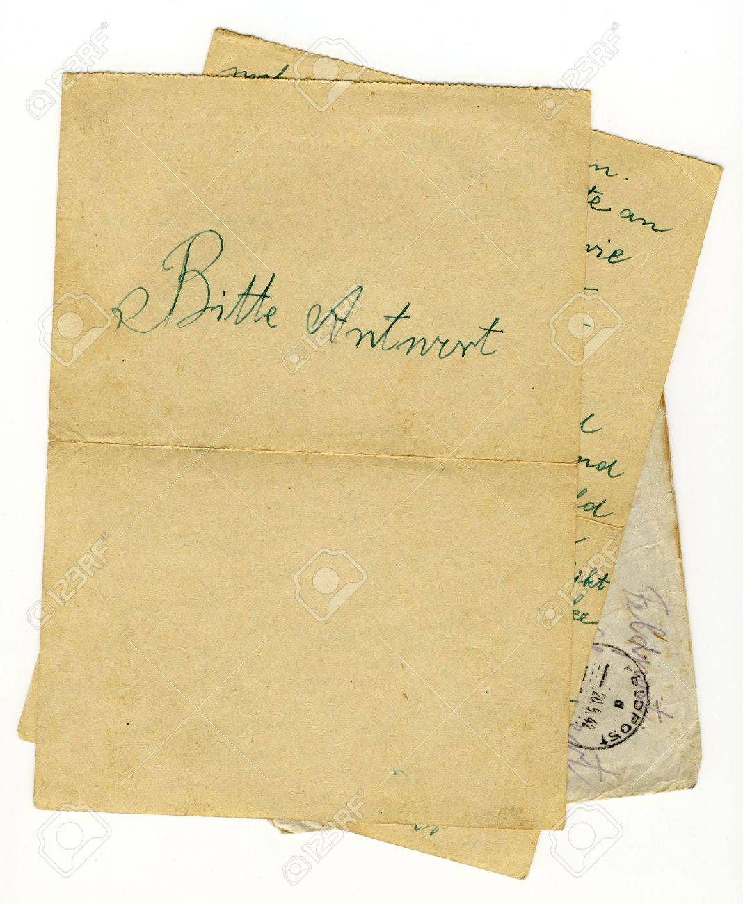 old german letter on two sheets of paper with big please answer Stock Photo - 6556218