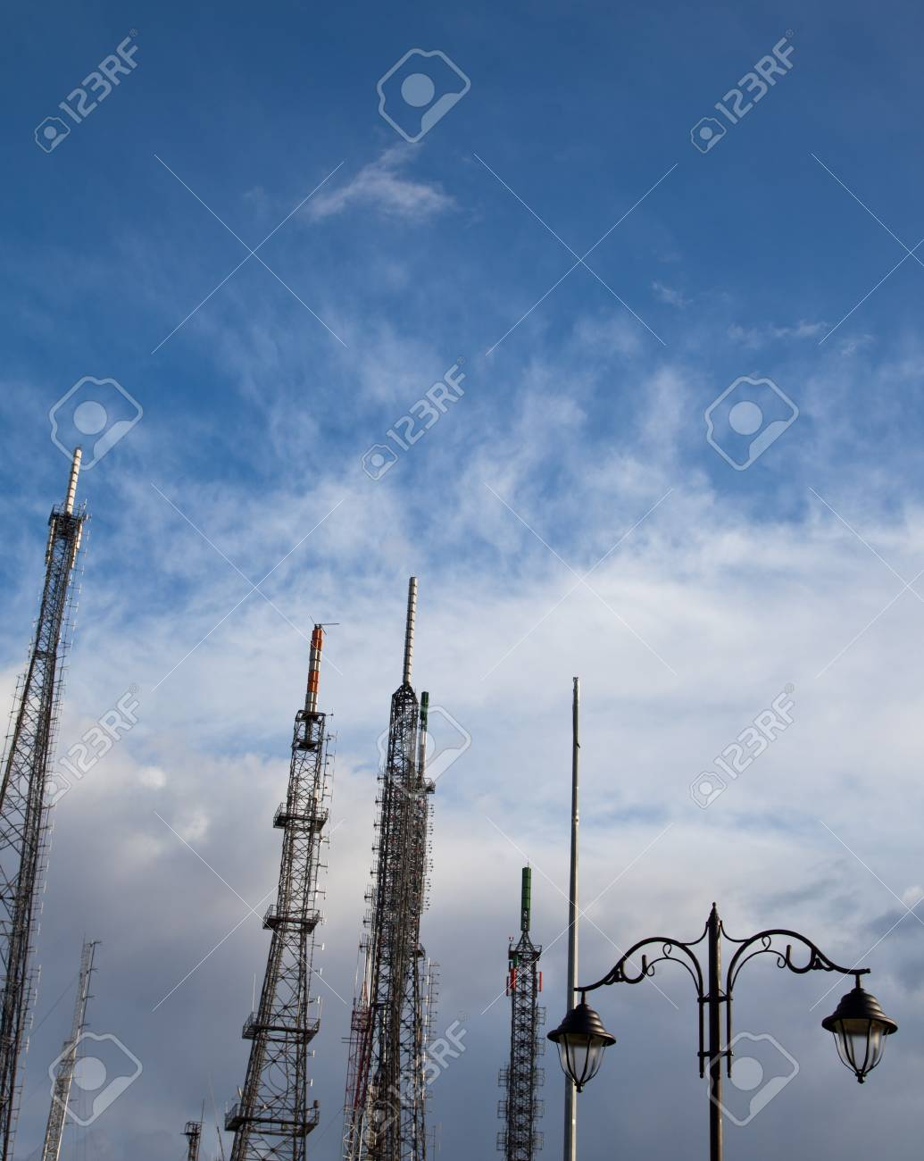 Communications Tower With Clouds 2 Stock Photo - 13214856
