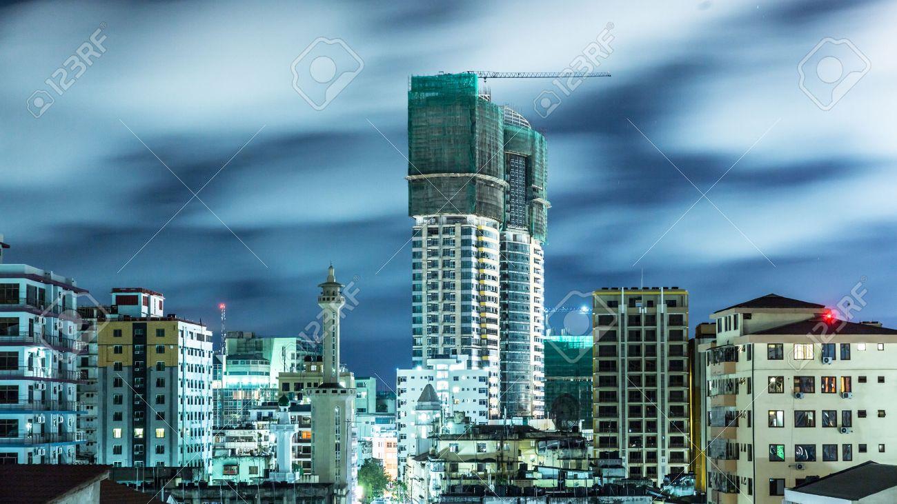 Aerial view of the city of Dar Es Salaam, Tanzania, at night - 24235782