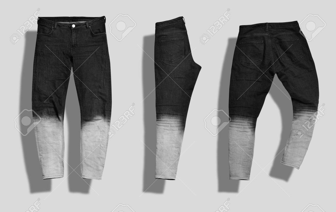 Pair of straight men s jeans with black to white gradient color shot from  the front and 61bd6711e