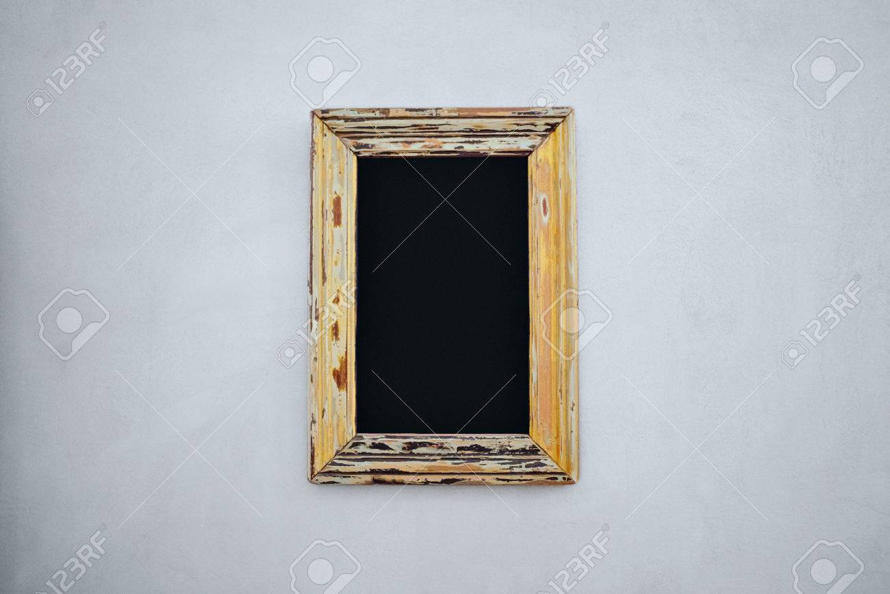 Empty Chalkboard In A Vintage Wide Frame With Peeled Paint On ...