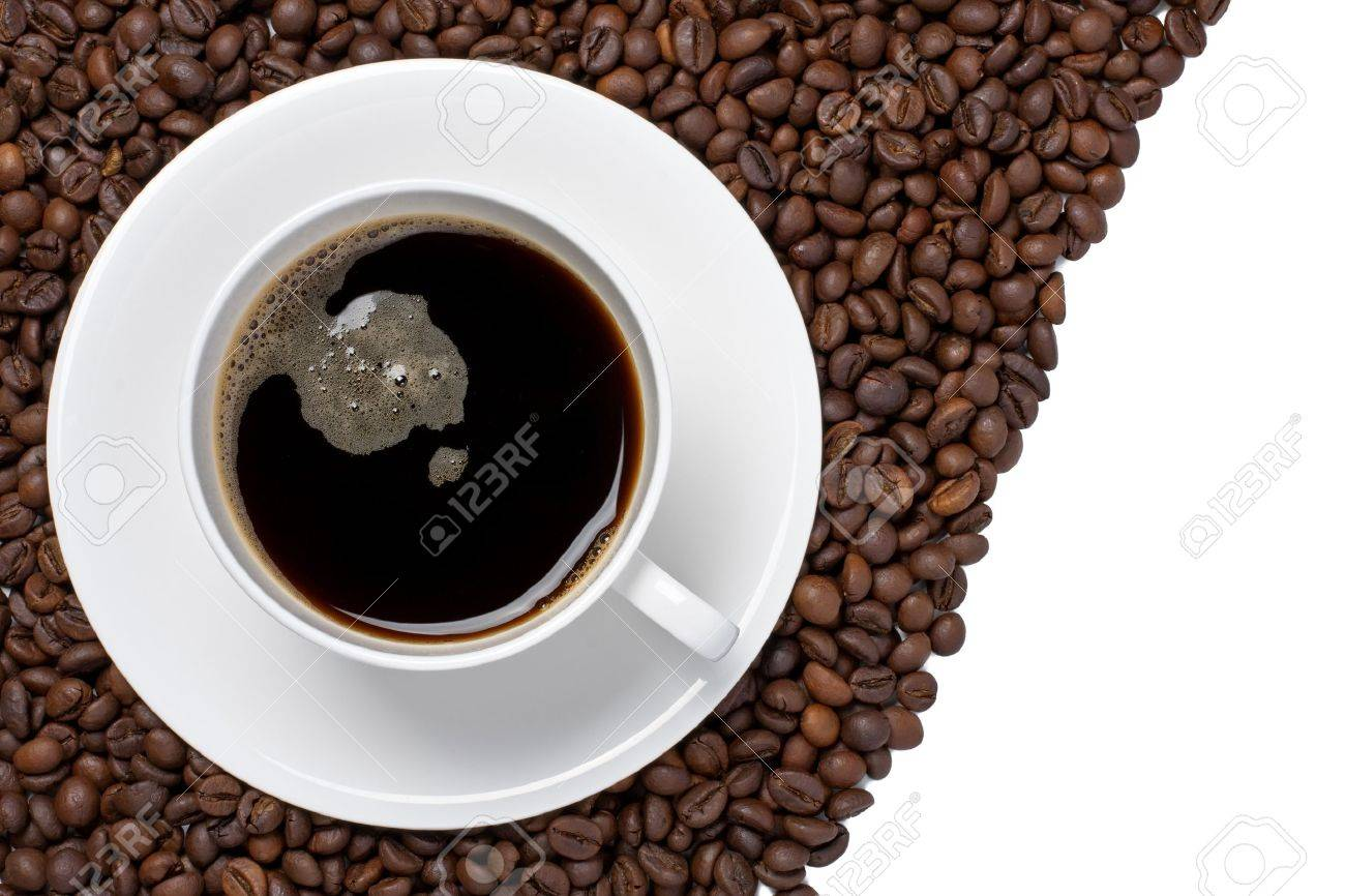 Modren Coffee Beans And Cup Background Isolated On A White Stock Photo 14119727 N For Decorating