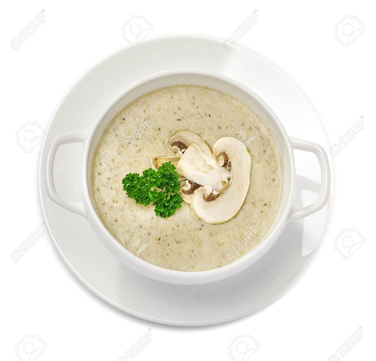 Mushroom cream soup isolated on white Stock Photo - 17721004