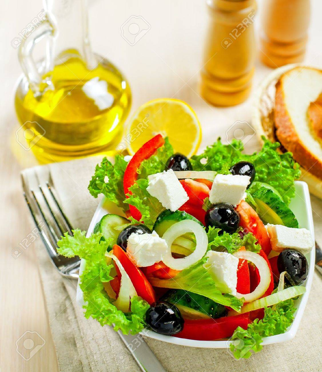 Greek vegetable salad with feta cheese, top view Stock Photo - 17721846