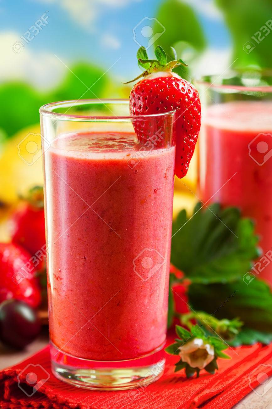 Summer drink, strawberry smoothies, outdoor Stock Photo - 28356515