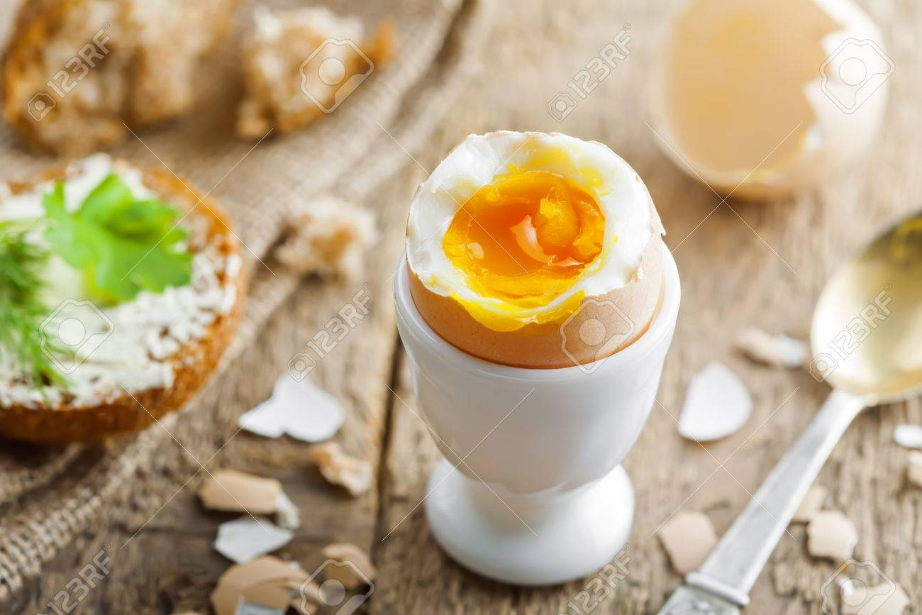 Perfect Soft Boiled Egg Bread And Butter For Delicious Healthy Breakfast On A Table