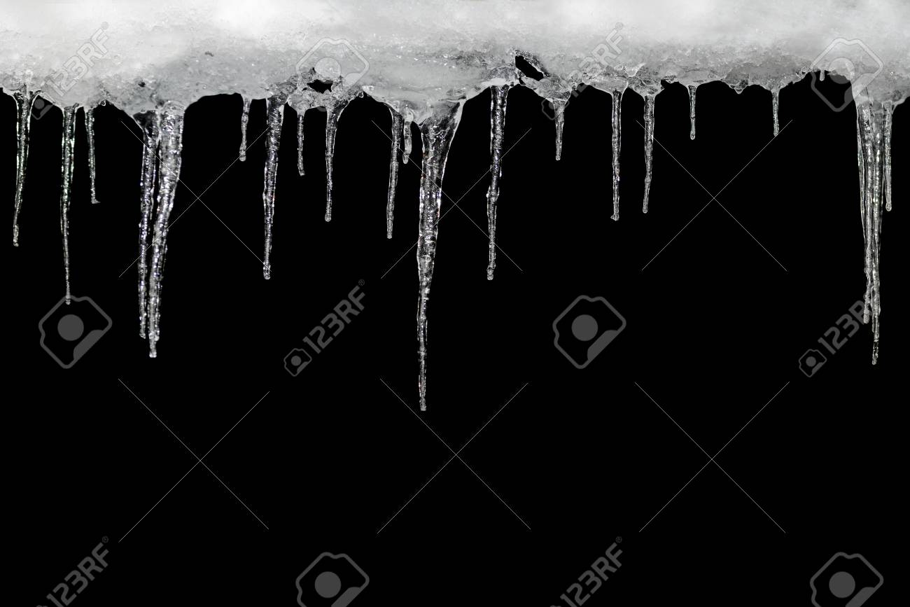 icicles on a black background place for text template for design