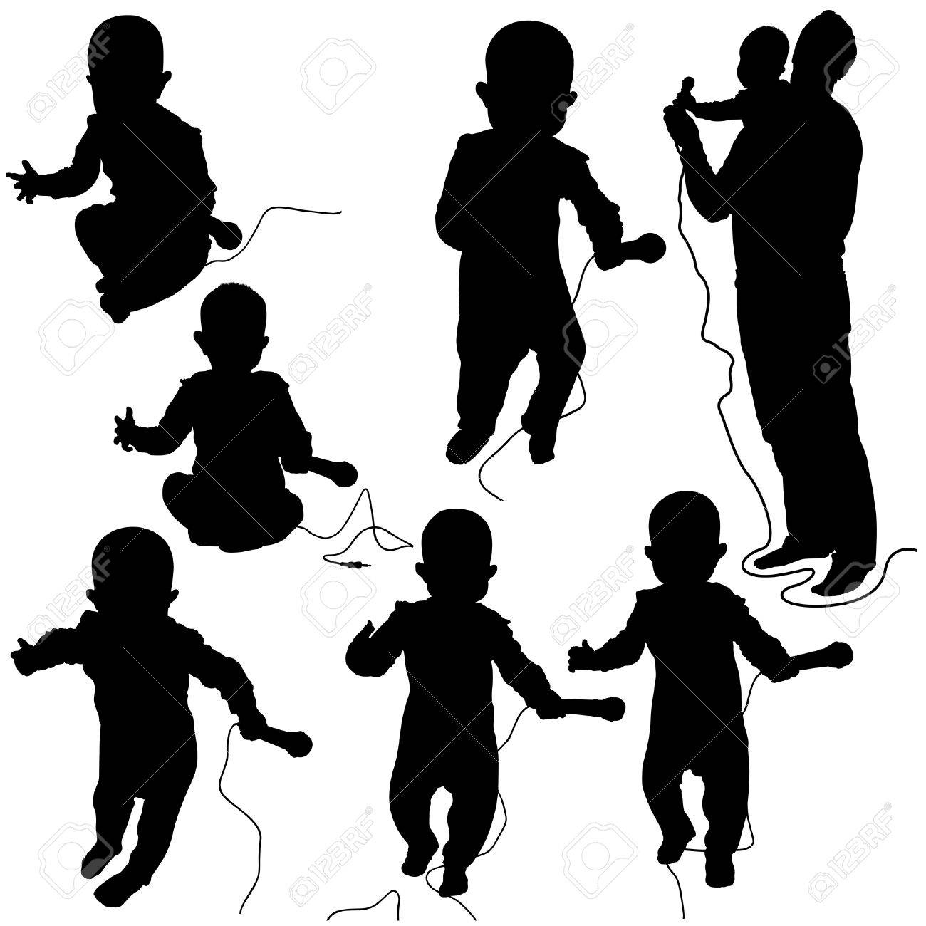 Baby DJ - black and white silhouettes as vector file Stock Vector - 2396830