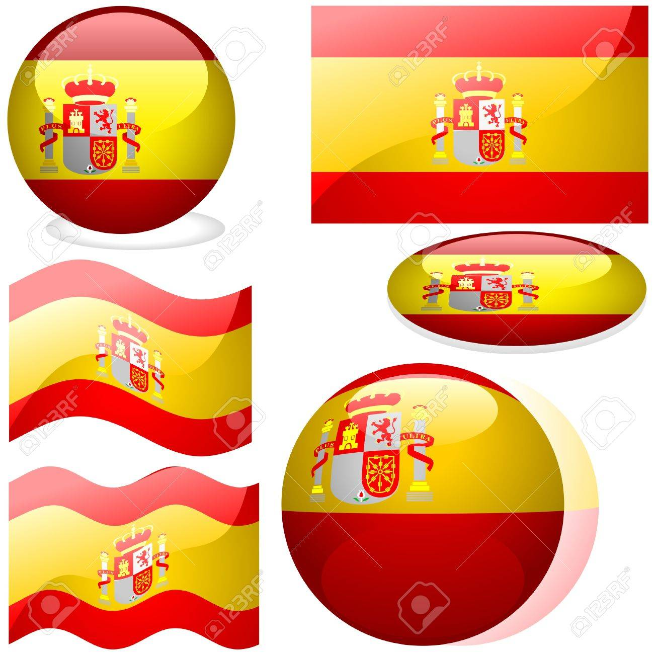 Spain Set - flags collection with glass effect as vectors Stock Vector - 2599536
