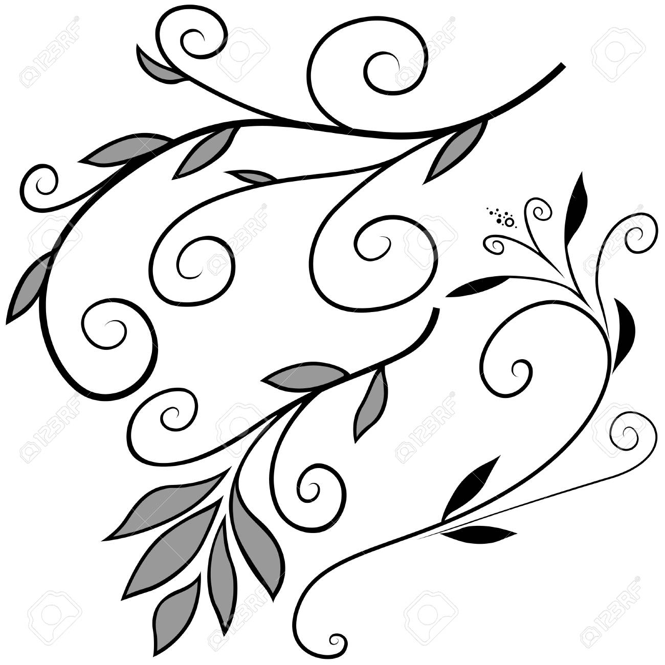 Floral elements F - popular floral segments as vector Stock Vector - 3121169