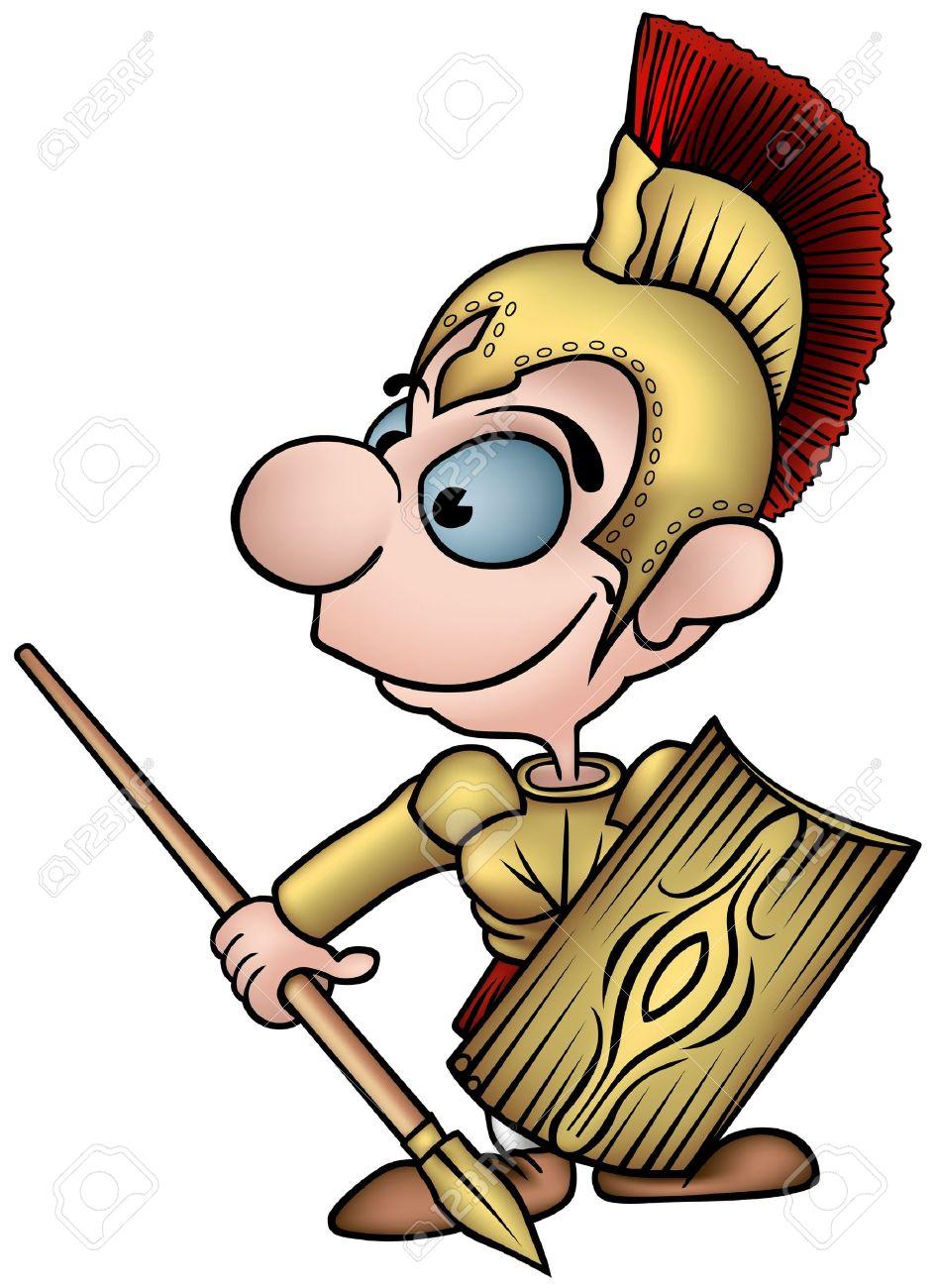 Roman Soldier - colored cartoon illustration as vector Stock Vector - 4082799