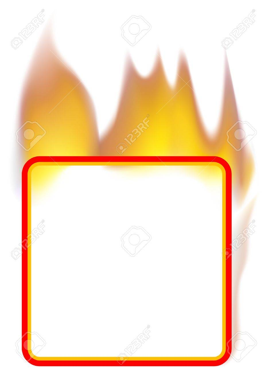 Fire Banner 03 - burning square banner as vector Stock Vector - 4147541