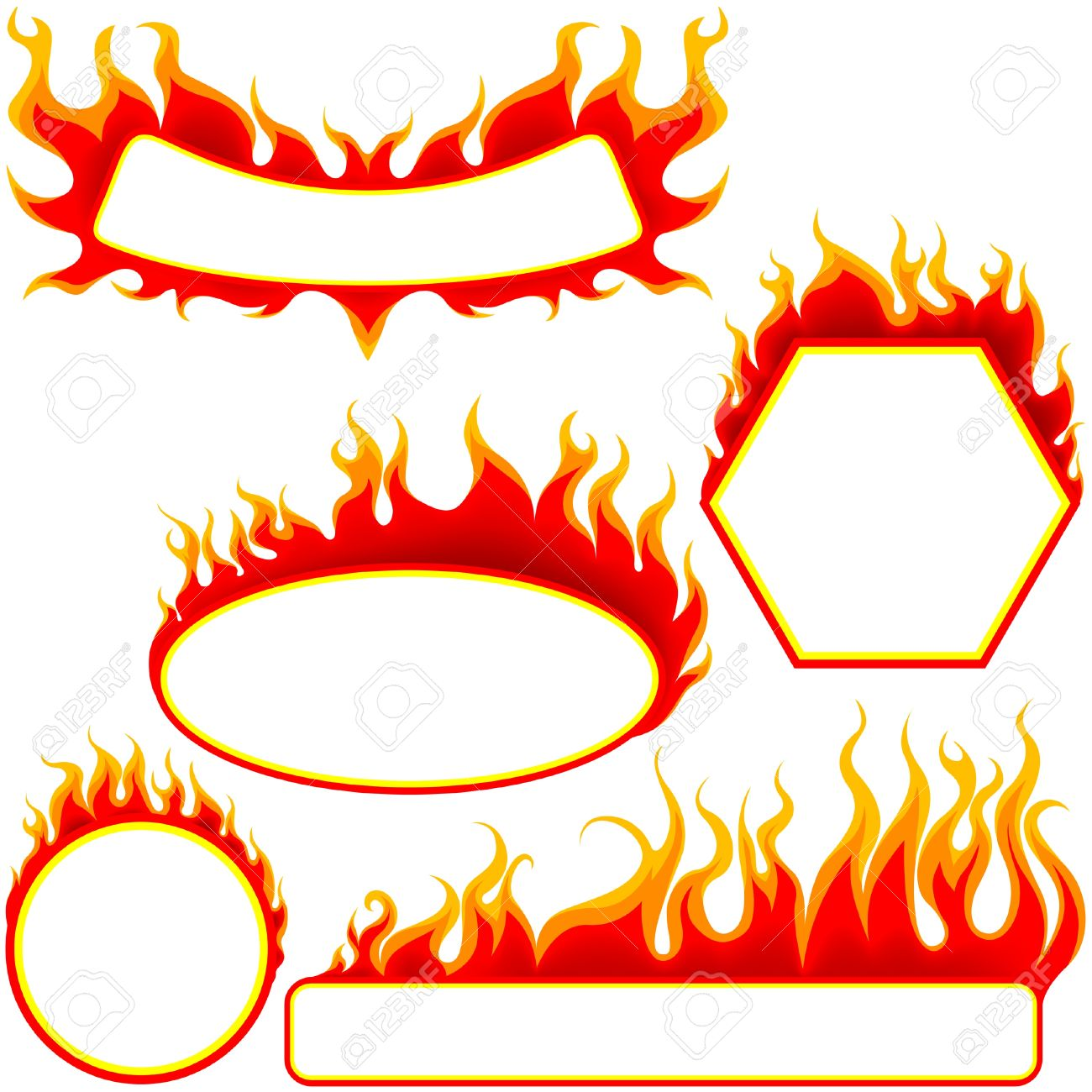 Fire Banners Set - colored illustrations as vector Stock Vector - 4215638