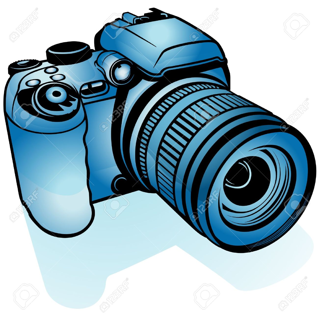 Blue Digital Camera Colored Illustration As Vector Royalty Free Cliparts Vectors And Stock Illustration Image 4351583