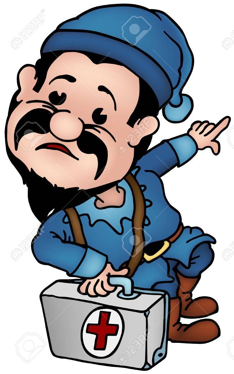 Blue Dwarf - Elf Doctor, colored cartoon illustration as vector Stock Vector - 4441103