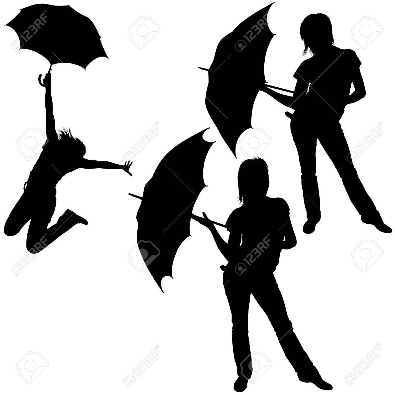 Girl And Umbrella 06 - detailed sillhouettes as vector Stock Vector - 4812643