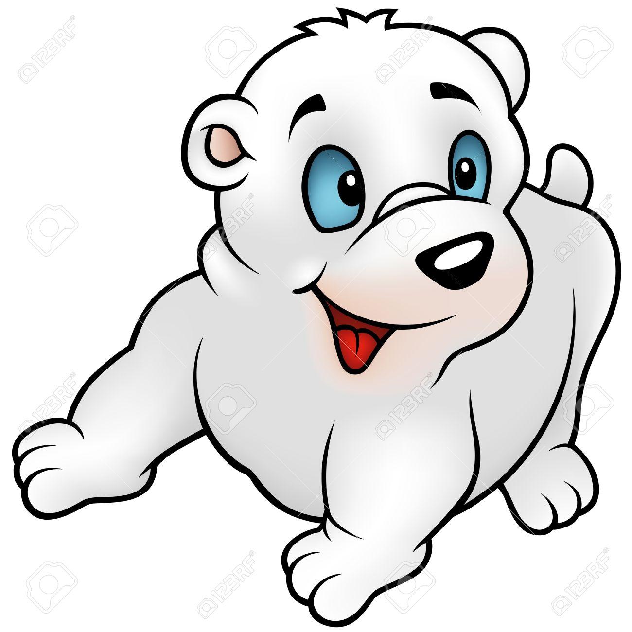Oso Polar, Puppy - Ilustración De Dibujos Animados Color + Vector ...