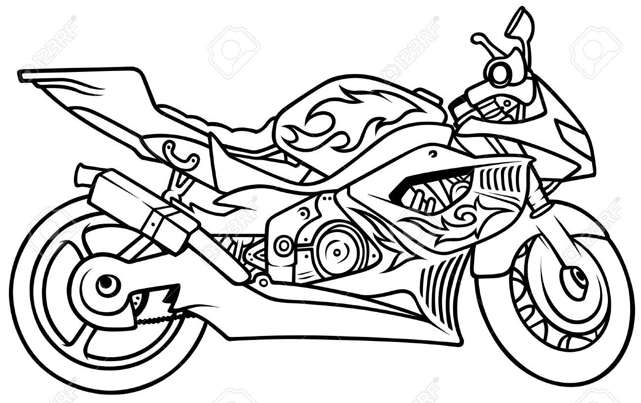 Крутой мотоцикл раскраска