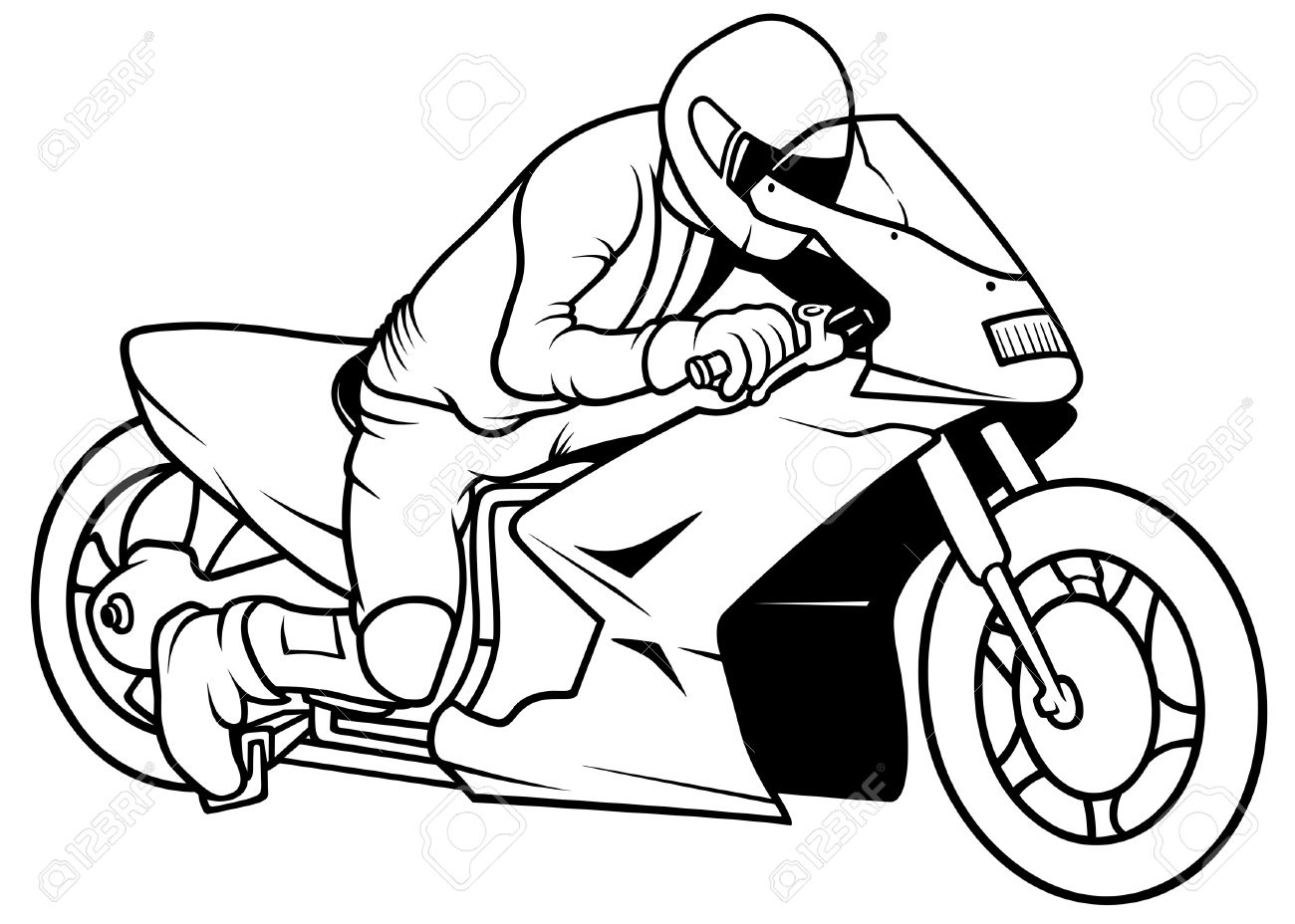 Motorcycle Racing, Hand Drawn Illustration Royalty Free Cliparts ... for Racing Motorcycle Clipart Black And White  183qdu