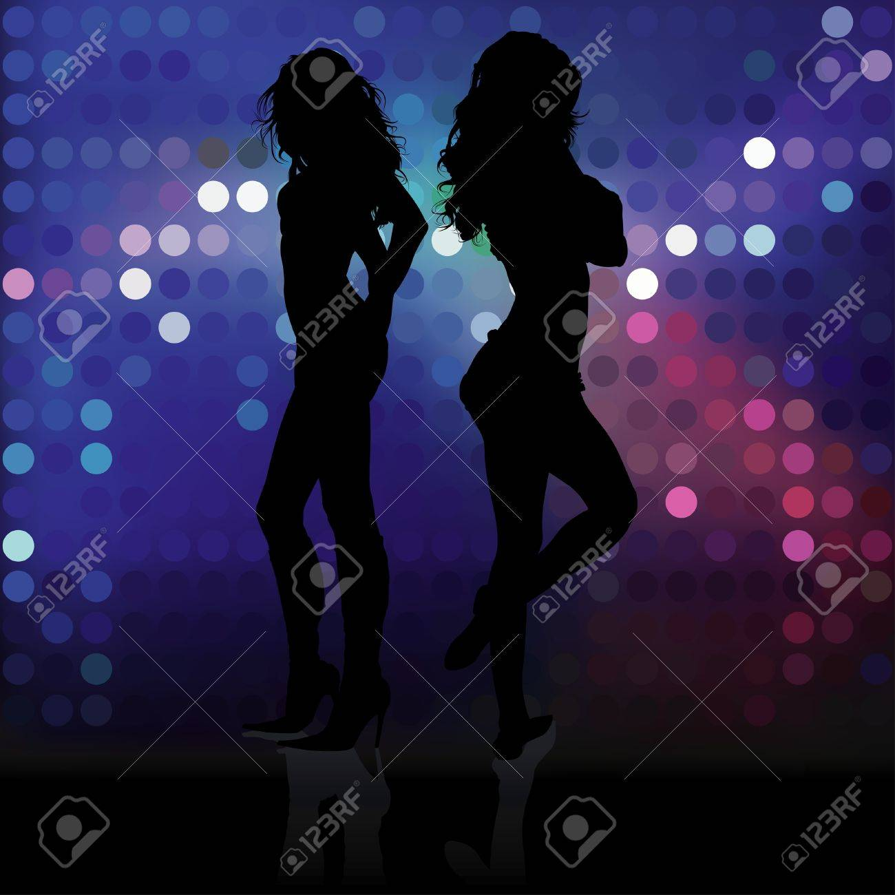 Showgirls - dancing girls silhouettes, Background illustration Stock Vector - 7183567