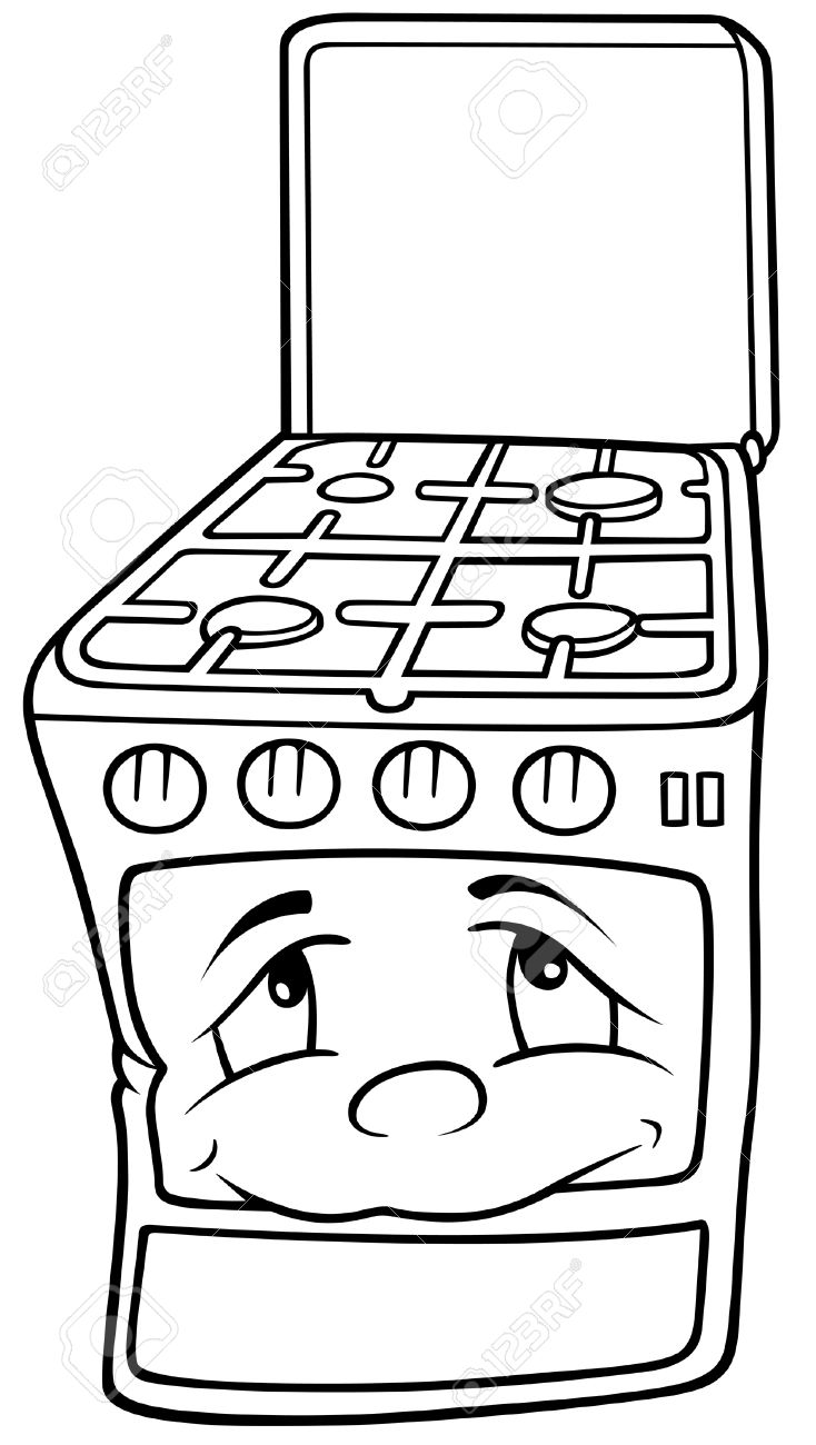 gas stove clipart black and white. gas stove - black and white cartoon illustration, vector stock 8663617 clipart o
