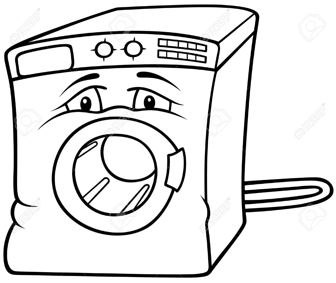 washing machine drawing. washing machine - black and white cartoon illustration, vector stock 8663621 drawing