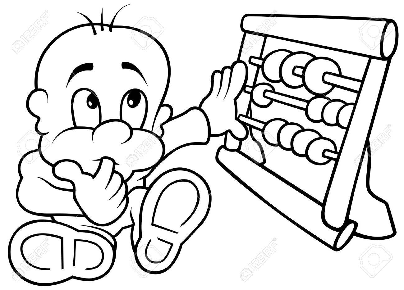 Baby and Abacus - Black and White Cartoon illustration, Vector Stock Vector - 8663628