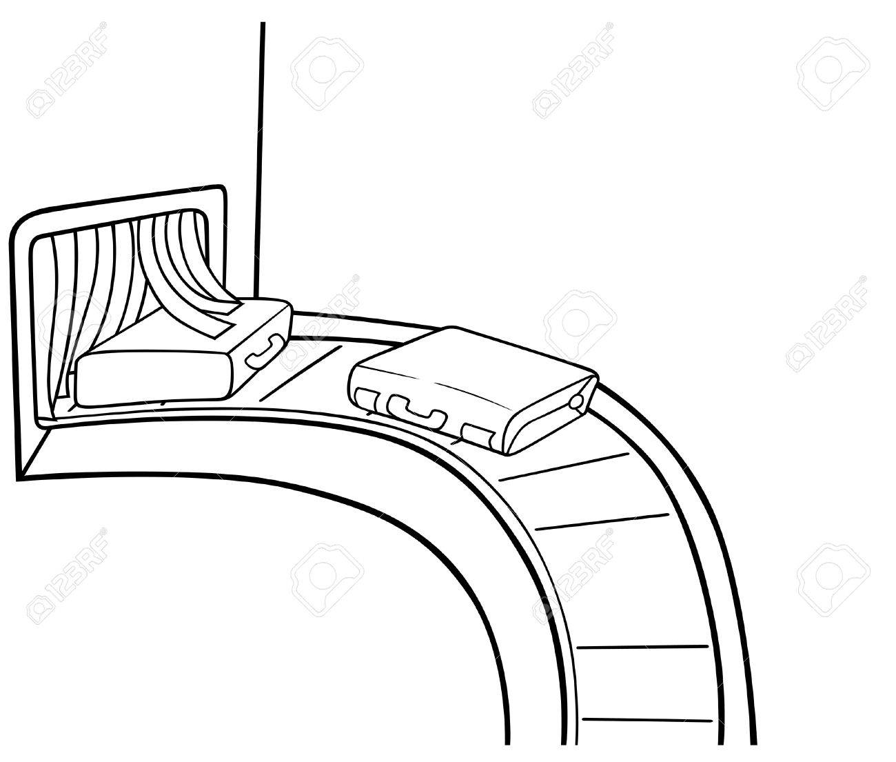 Baggage Claim - Black and White Cartoon illustration, Vector Stock Vector - 8669809
