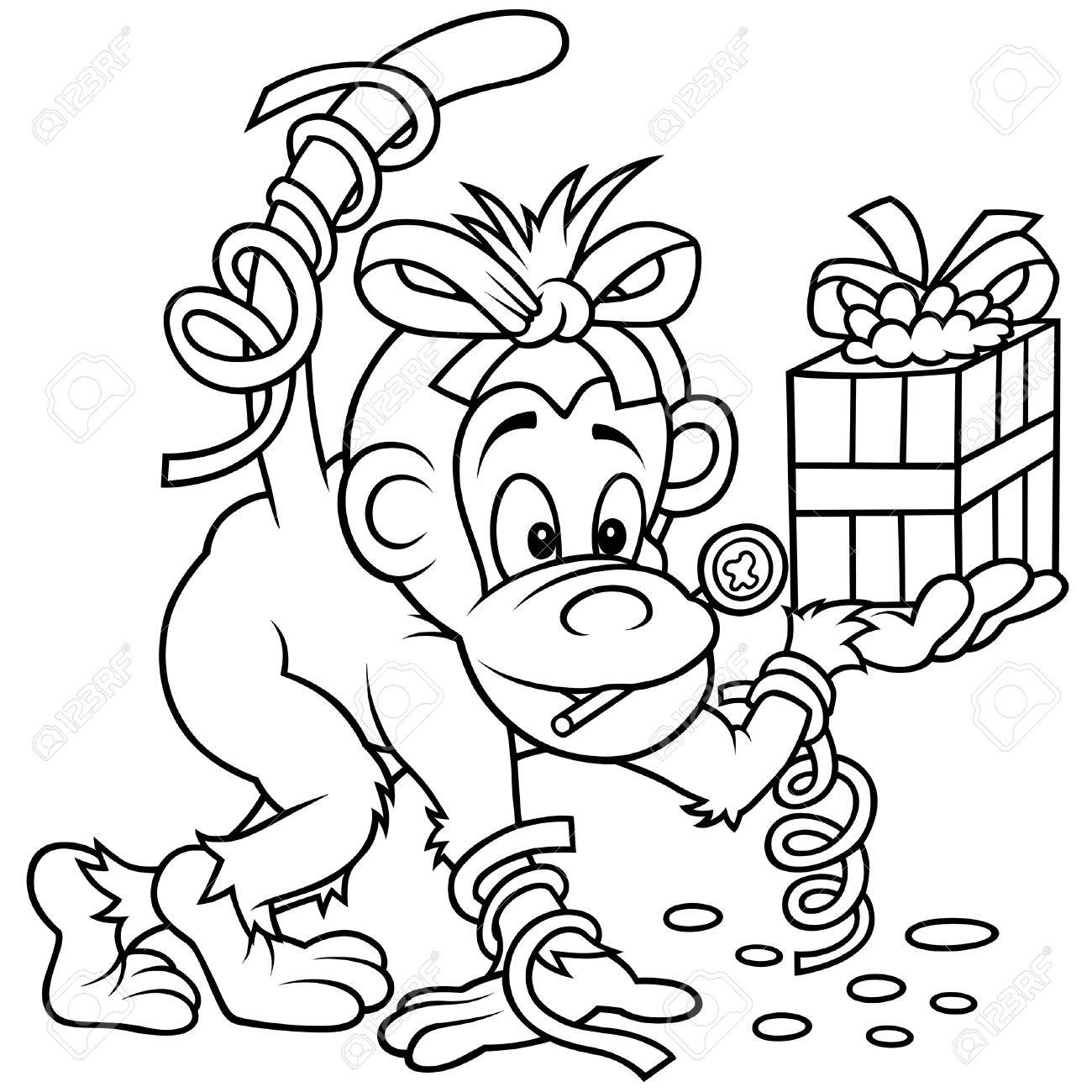 Monkey and Gift - Black and White Cartoon illustration, Vector Stock Vector - 8669812