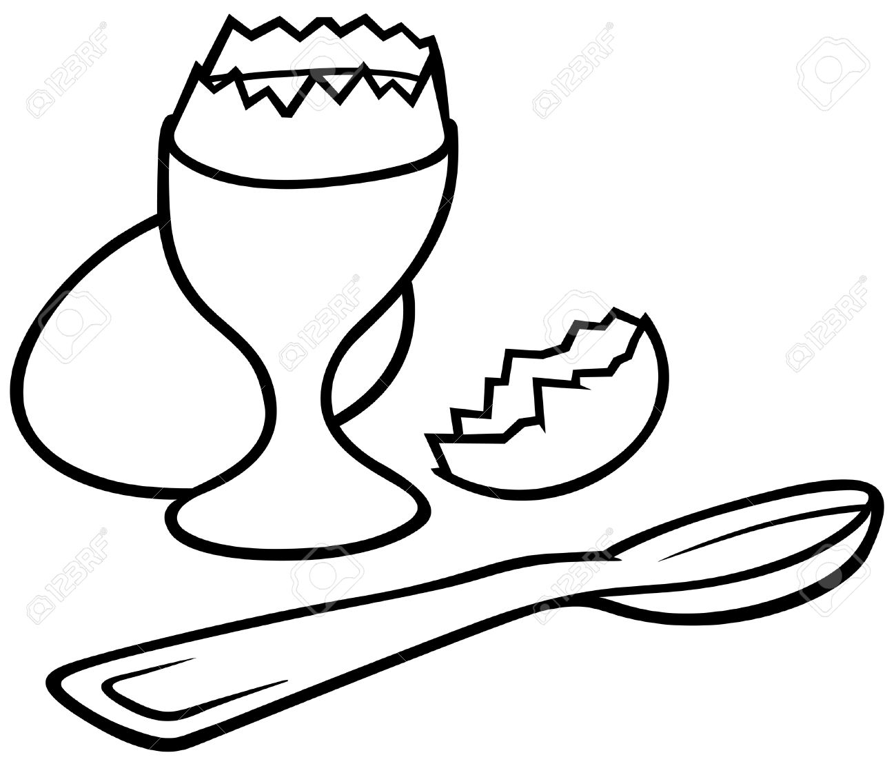 Eggcup - Black and White Cartoon illustration, Vector Stock Vector - 8756007