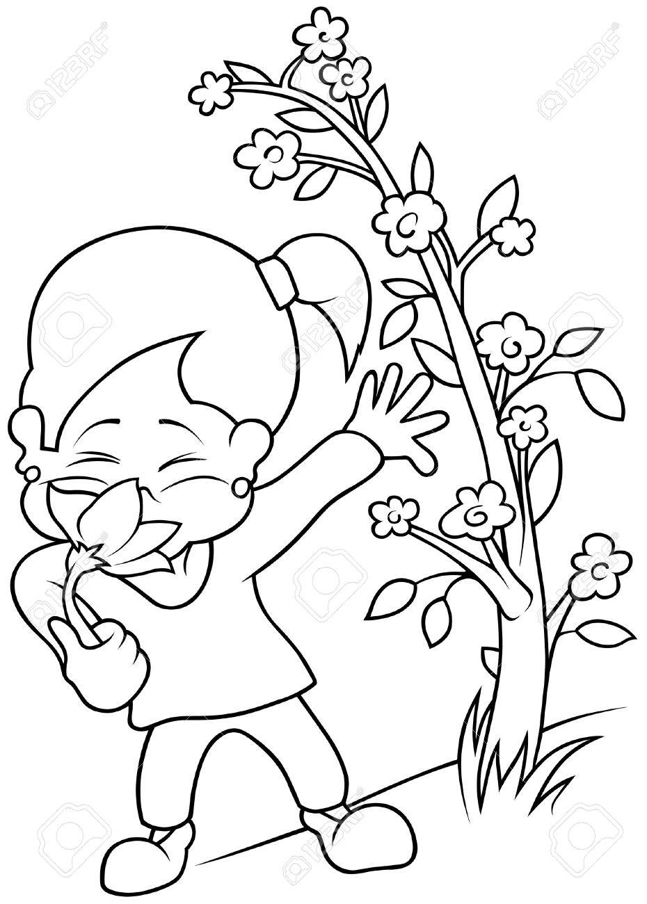 with flower black and white cartoon illustration vector