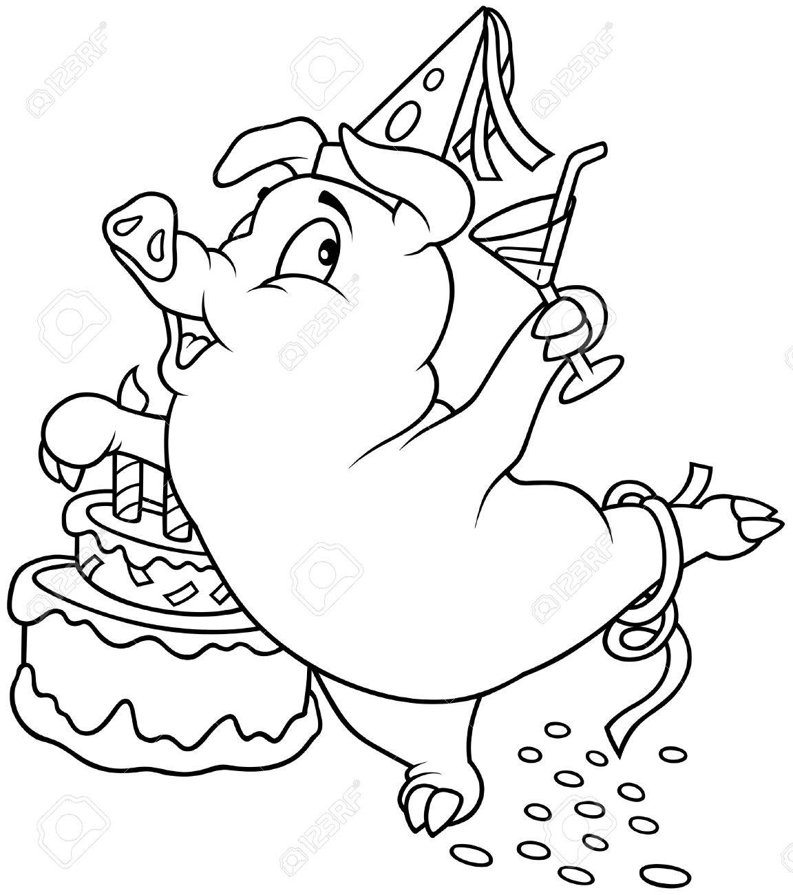 Piglet and Birthday - Black and White Cartoon illustration, Vector Stock Vector - 8756009