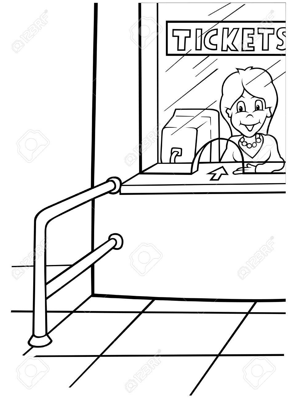 Airport Tickets - Black and White Cartoon illustration, Vector Stock Vector - 8756015