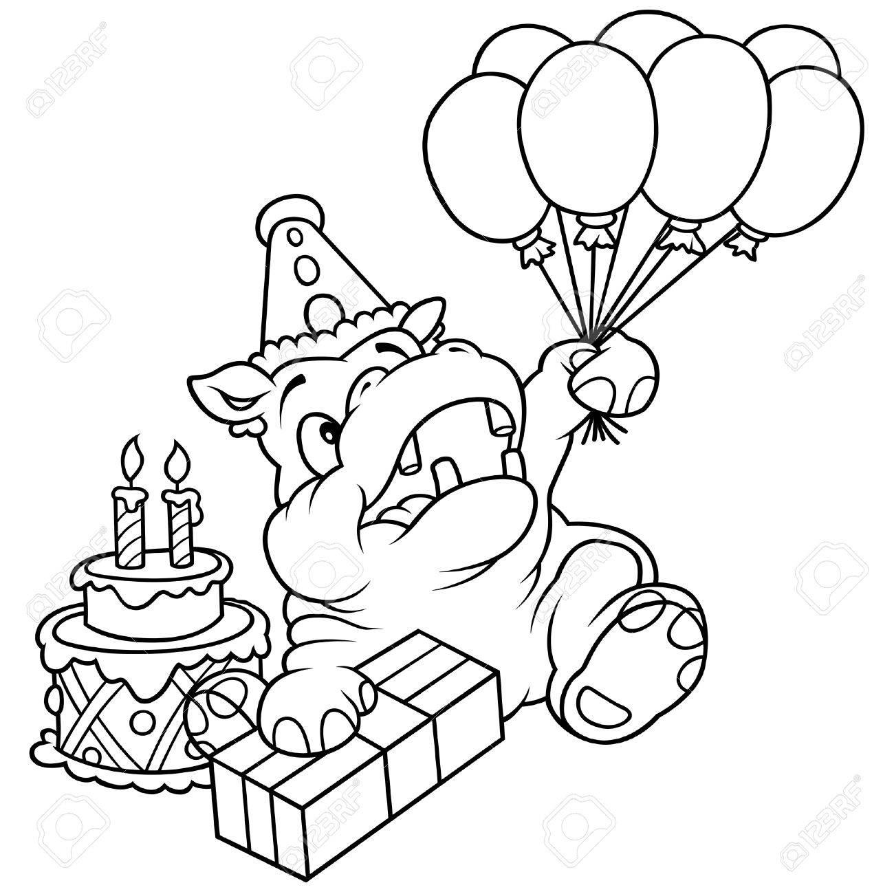 Hippo Et Ballons Illustration De Dessin Animé Noir Et Blanc Vecteur