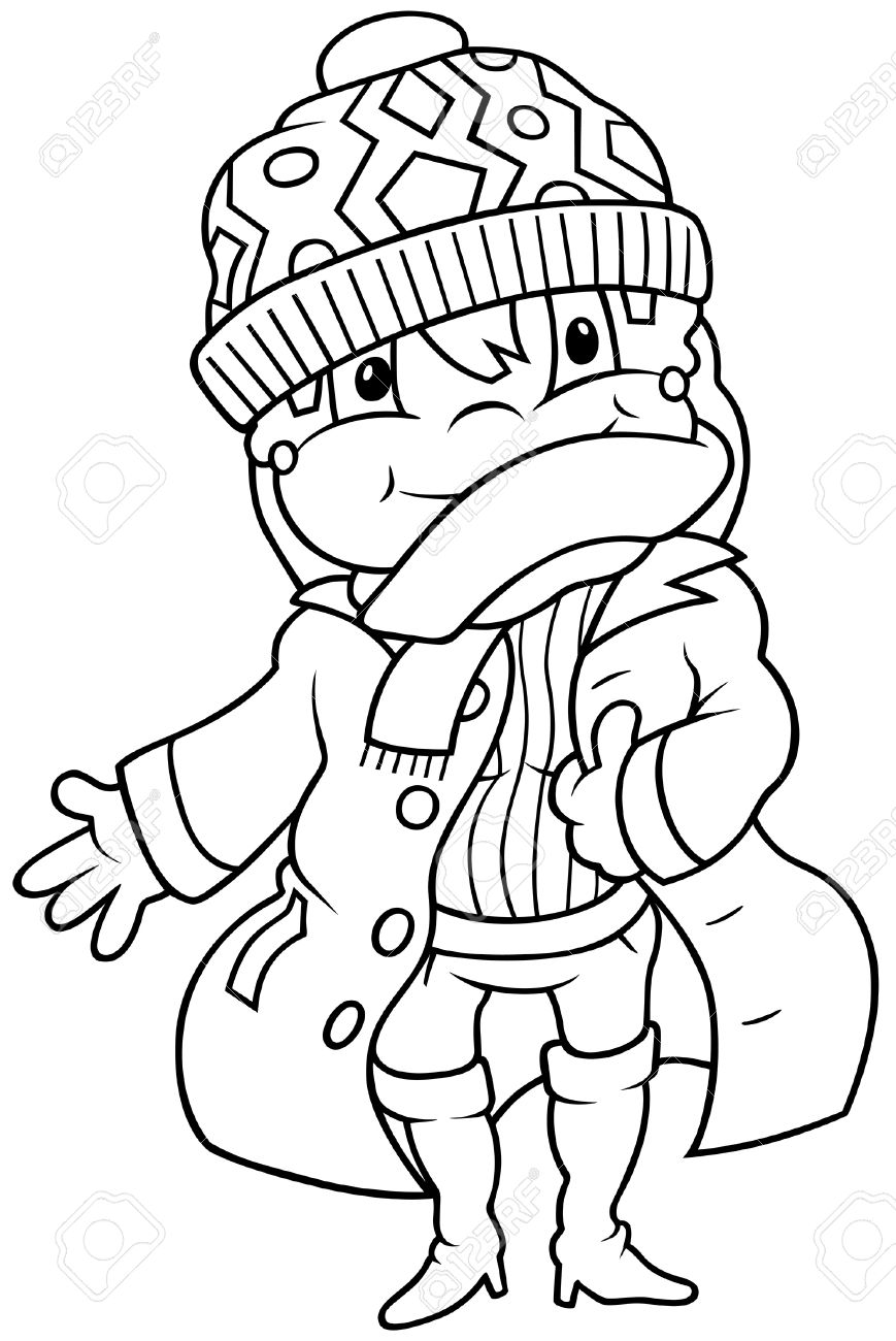 Girl in Winter Dress - Black and White Cartoon illustration, Vector Stock Vector - 8756068