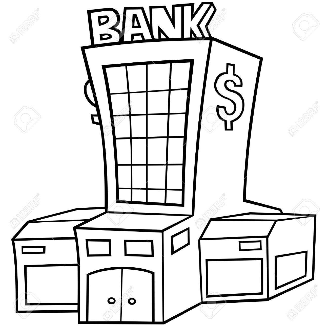 Bancos Dibujos Animados Banco Ilustración de Dibujos